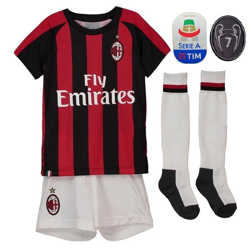 the latest ab074 7c580 Youth HIGUAIN Jersey Set Kids AC Milan Serie A 7 Champions CALHANOGLU  CUTRONE KALINIC MONTOLIVO BORINI Children Football Shirt Kits Uniforms