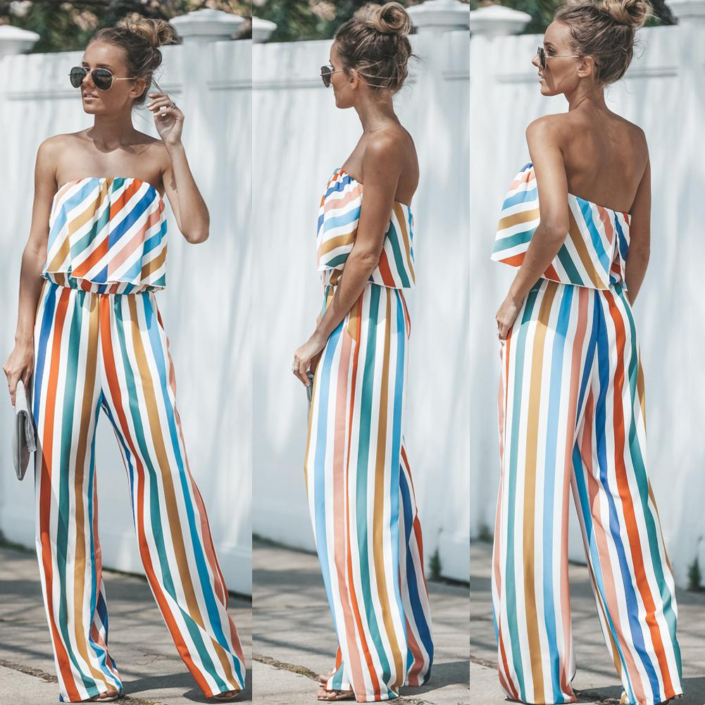 138b4768870f 2019 2018 Fashion Women Jumpsuit Romper Colorful Striped Strapless ...