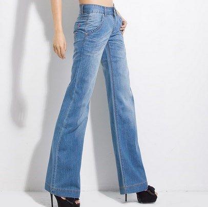 377df7b520fcf Compre Pantalones Vaqueros De Pierna Ancha De Talle Alto Para Mujer Pantalones  Vaqueros De Fondo De Campana Para Mujer Pantalones Vaqueros Azules Claros  Con ...
