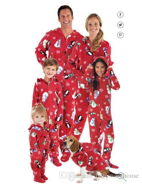 Newest Christmas Pajamas Family Look Penguin Christmas Snowman Printed  Jumpsuits Home Pajamas Outfits Family Matching Clothing Outfits Suits  Clothes For ... 2a4124870