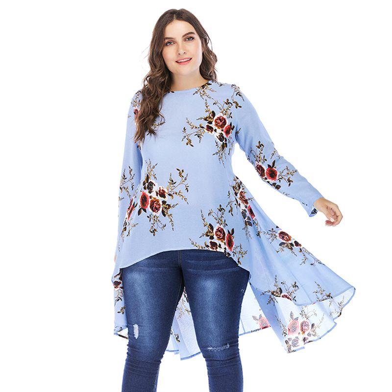 24838e8ad26 2019 2019 New Women Plus Size Floral Blouse High Low Hem Long Sleeve Autumn Shirt  Tops O Neck Elegant Long Irregular Top Light Blue From Jamie07