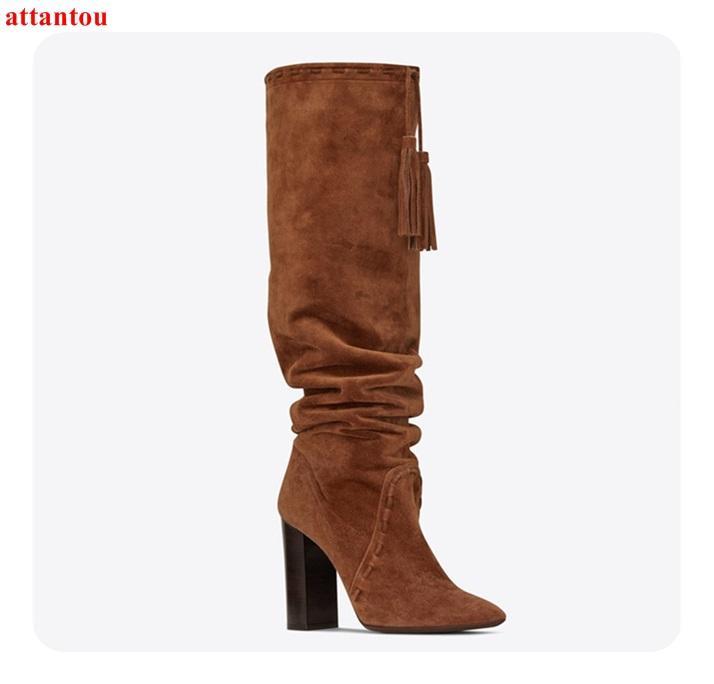 Compre 2018 Elegante Mujer Marrón Botas Largas Gamuza Gamuza Plaza Alta  Talón Bota Hasta La Rodilla Otoño Invierno Moda Mujer Zapatos De Vestir A   137.75 ... 24c3502c6c5e6