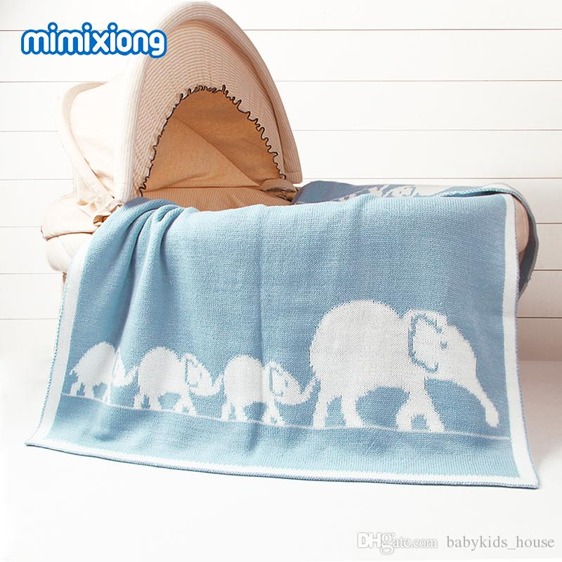 Elephant Crochet Infant Basket Bedding Cover Autumn Newborn Baby Swaddle Blanket Children Sofa Air Conditioning Blankets 95*75cm