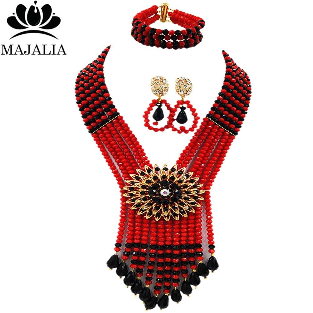 ba3dd0db3518 Compre Majalah Classic Nigeria Boda Cuentas Africanas Joyería Conjunto  Opaco Cristal Rojo Collar Pulsera Pendientes Envío Gratis Vu018 A  46.26  Del Shuocong ...
