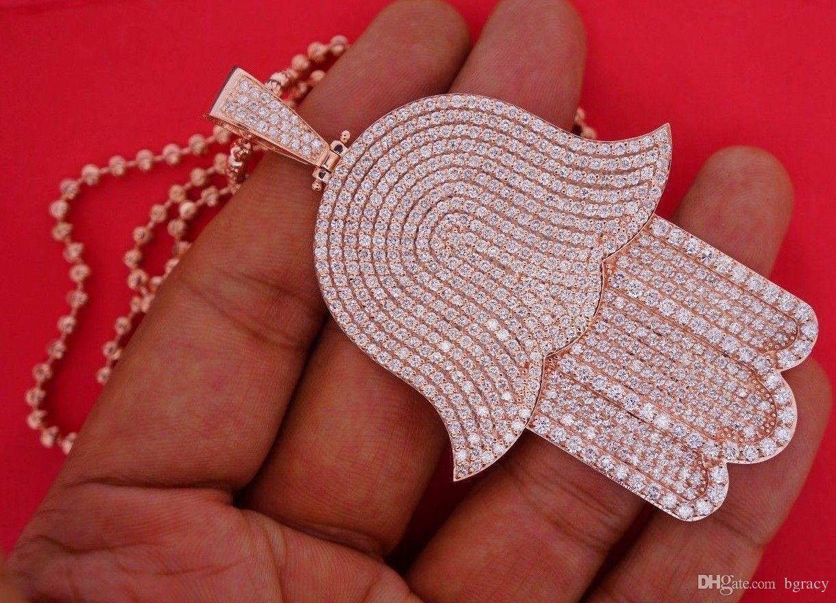 Wholesale 14 diamonds hand of god hamsa pendant 10k rose gold huge wholesale 14 diamonds hand of god hamsa pendant 10k rose gold huge celebrity style heart pendant statement necklaces from bgracy 5528 dhgate aloadofball Image collections