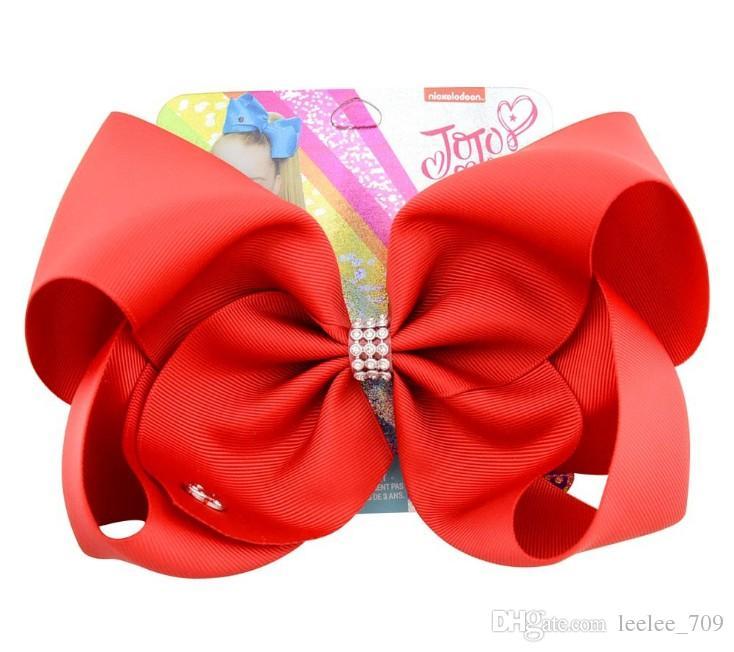 8-Zoll-Jojo Siwa Haar-Bogen-Fest Farbe mit Clips Papercard Metall Logo Mädchen Riesenregenbogen Strass Haarschmuck Hairpin Haarband IN