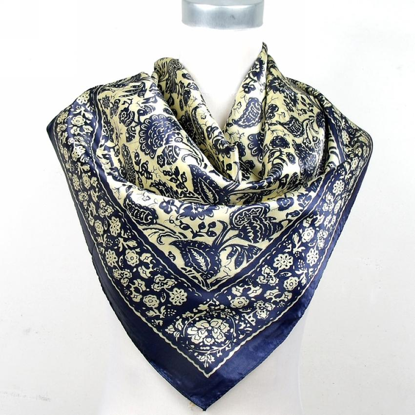 b589106777 [BYSIFA] New Black And White Chain Square Silk Scarf Shawl Fashion New  Style Satin Square Scarf Printed Man Silk 90*90cm