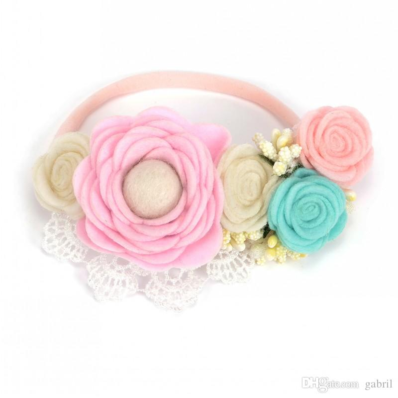 Felt Flower Nylon Headband Flet Flower Crown For Baby Spring Headband Infant Hair Accessory 10pcs/lot