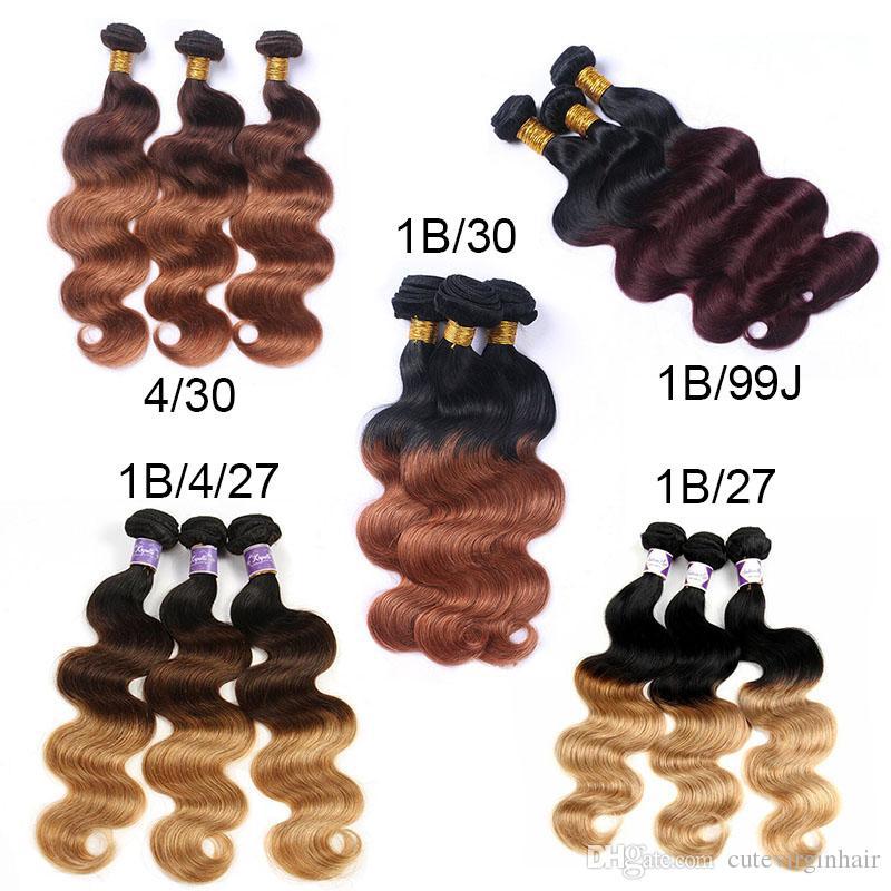 Ombre Renkli Saç 3 Paketler Brezilyalı Perulu Malezya Bakire İnsan Saç Dokuma Vücut Dalga Ombre Renkli Demetleri Saç Satıcıları 12-24 Inç