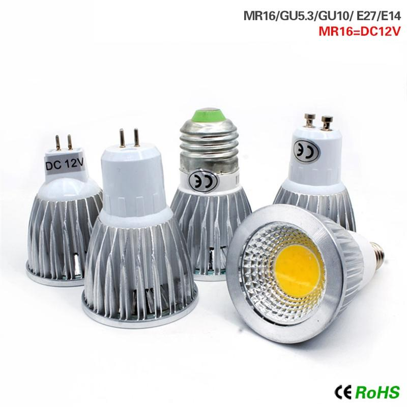 Led lights 9W 12W 15W COB GU10 GU5.3 E27 E14 MR16 Dimmable LED Sport light lamp Power bulb lamps DC12V AC110V 220V