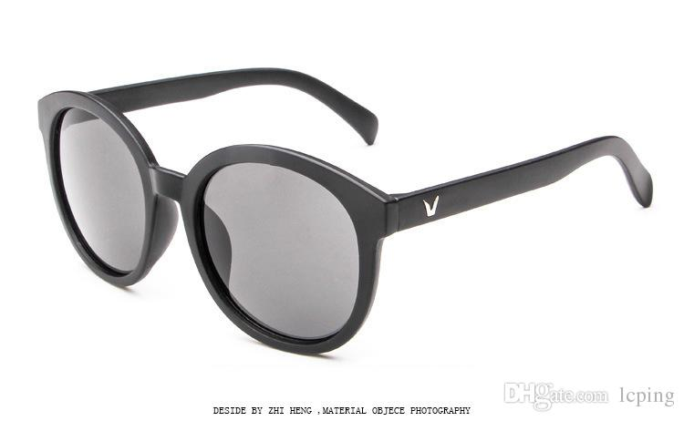 1 adet Yüksek Kalite Moda Yuvarlak Güneş Gözlüğü Womens Tasarımcı Marka Güneş Gözlükleri Altın Metal Siyah Koyu 50mm Cam Lensler Daha ...