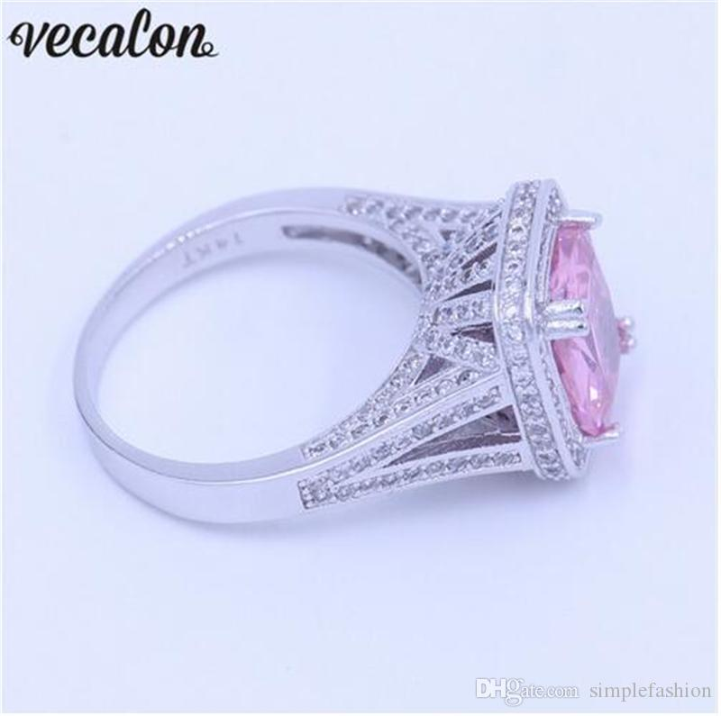 Vecalon New Women ring Cushion cut 10ct Pink 5A Zircon Cz 14KT White Gold Filled Birthstone wedding Band ring for women men Gift