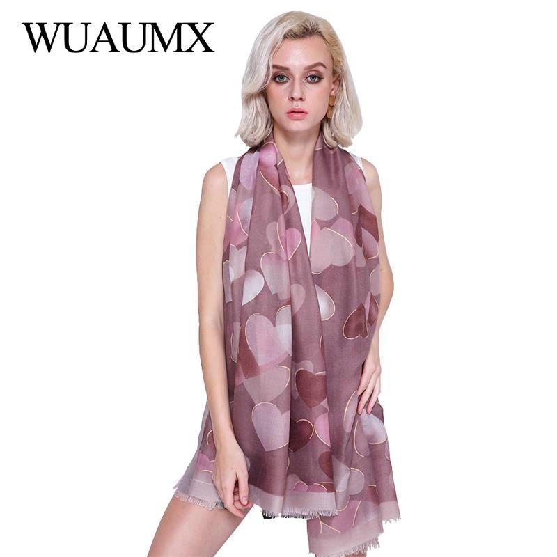 Großhandel Wuaumx Neue Foulard Femme Herbst Winter Schal Frauen Herz ...