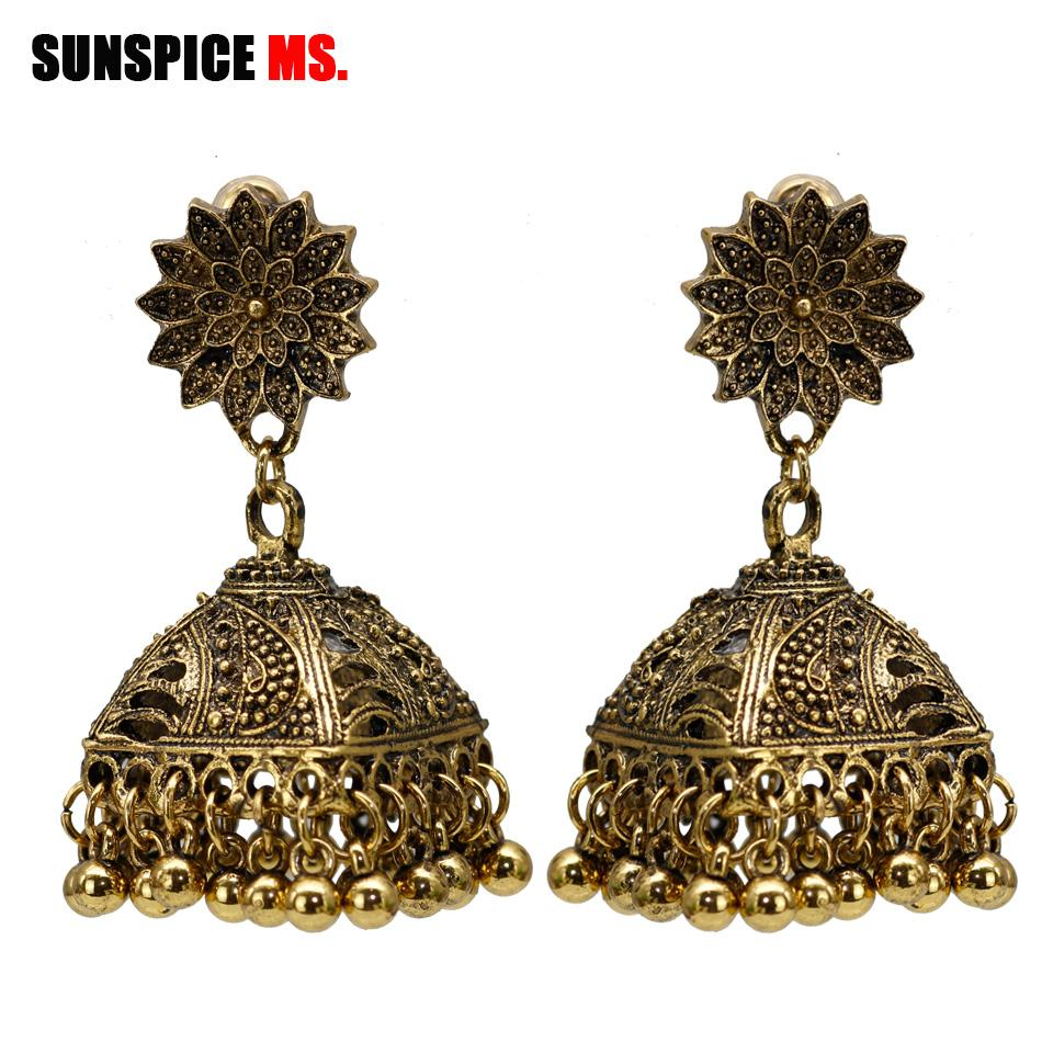 2019 SUNSPICE MS Indian Earrings For Women Bridal Wedding Jewelry Retro  Vintage Gypsy Square Hollow Bell Drop Earring Egypt Bijoux From Qiuyeluo 1fe0ac6716b7