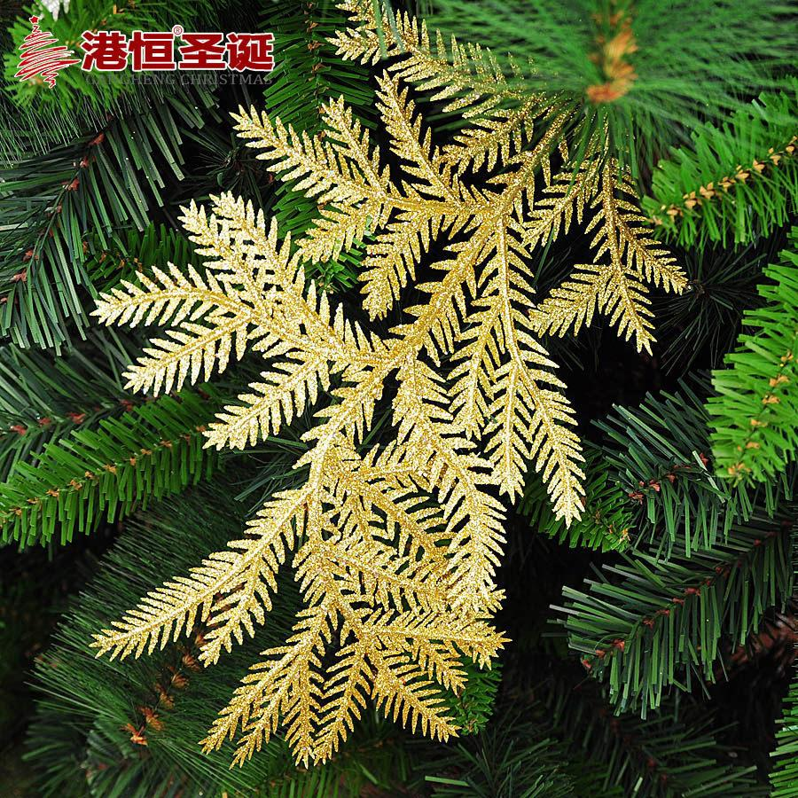 Christmas Golden Silver Tree Branches Leaf Christmas Tree Decorative