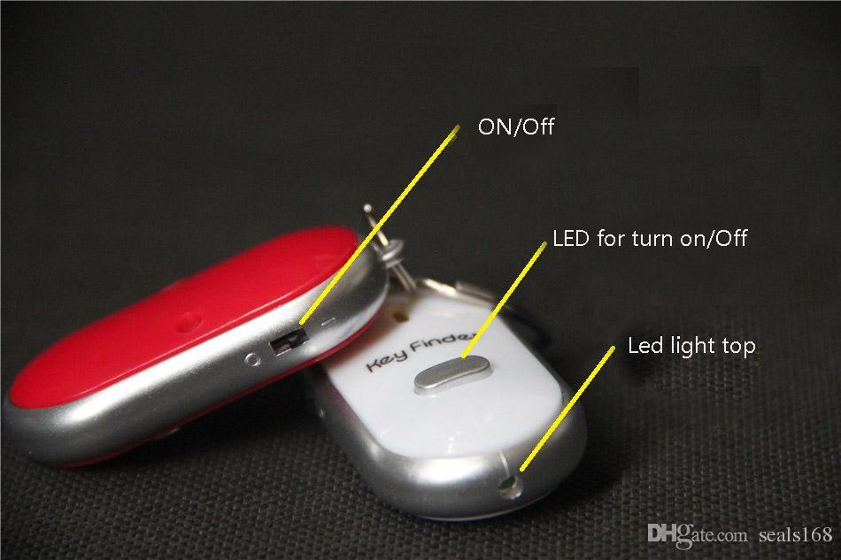 Heißer verkauf Anti Verlorene LED Schlüsselsucher Locator 4 Farben Stimme Sound Whistle Control Locator Keychain Steuerung Fackel Karte Blister Pack HH7-926