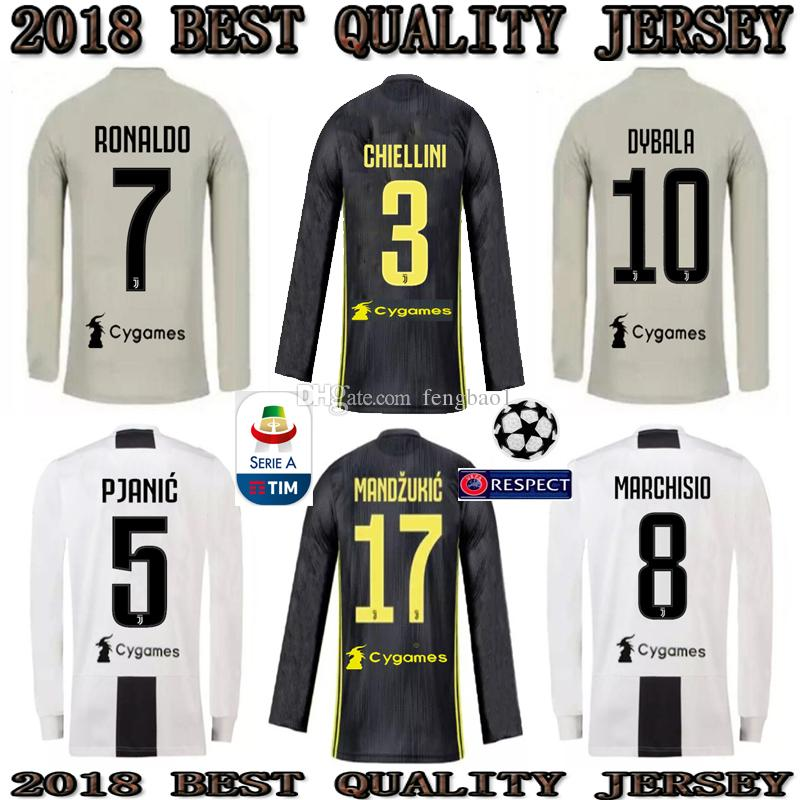 7bad50707 2019 CR7 Long Sleeve Juventus Soccer Jersey 18 19 RONALDO DYBALA ...