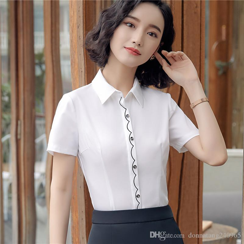 2019 Elegant Women Office Work Wear Shirt New Fashion Formal Short Sleeve  Slim Chiffon Blouse Office Ladies Plus Size Tops From Donnatang240965 788384575779