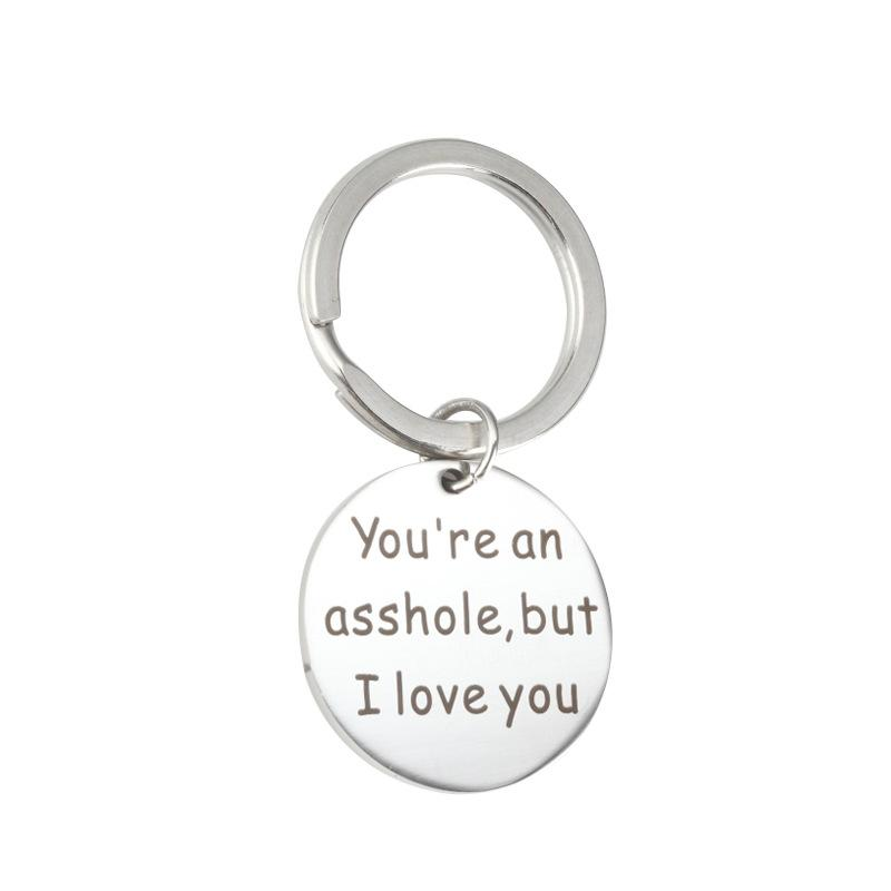 Stainless steel Letter You are my favorite But I Love you Keychain Key Holder Family Kids Jewelry Dad 25mm