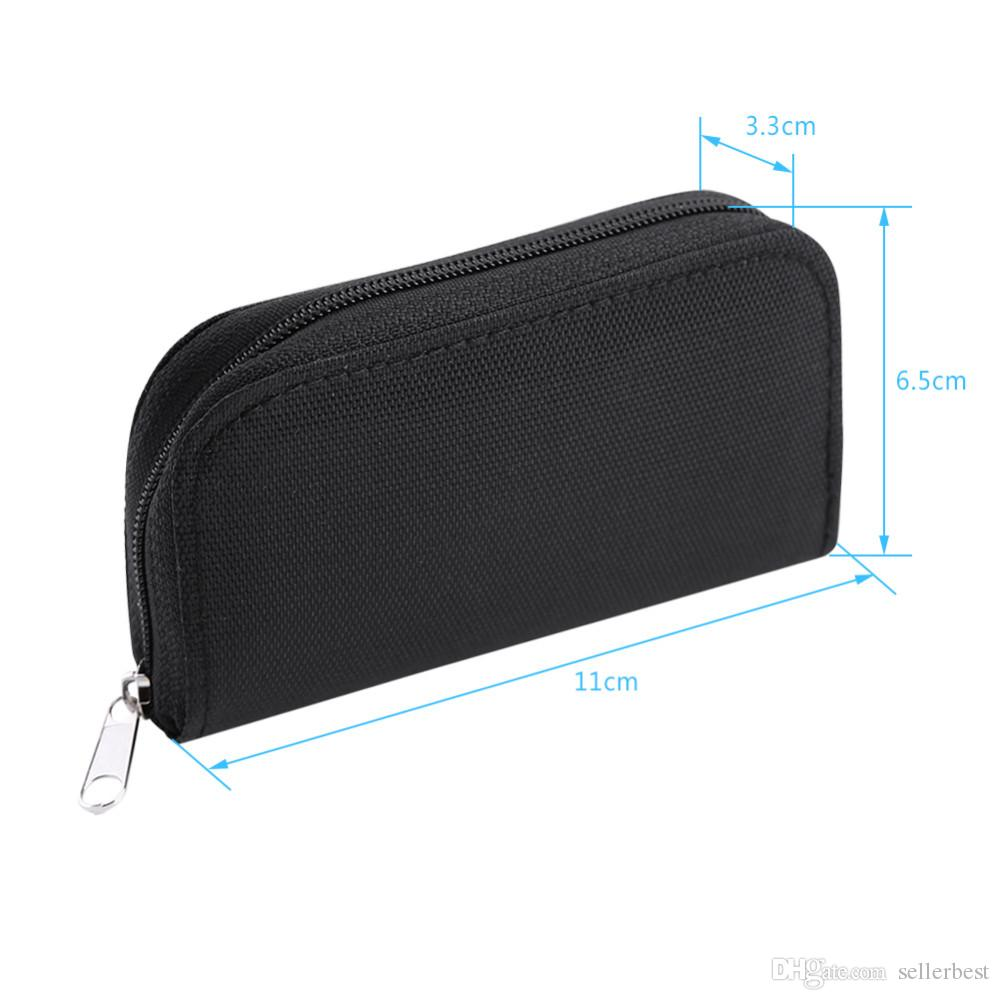 Nylon Memory Card Case For CF/SD/SM/SD/SDHC Card Storage Box Holder Carrying Pouch Case with Zipper Design Black