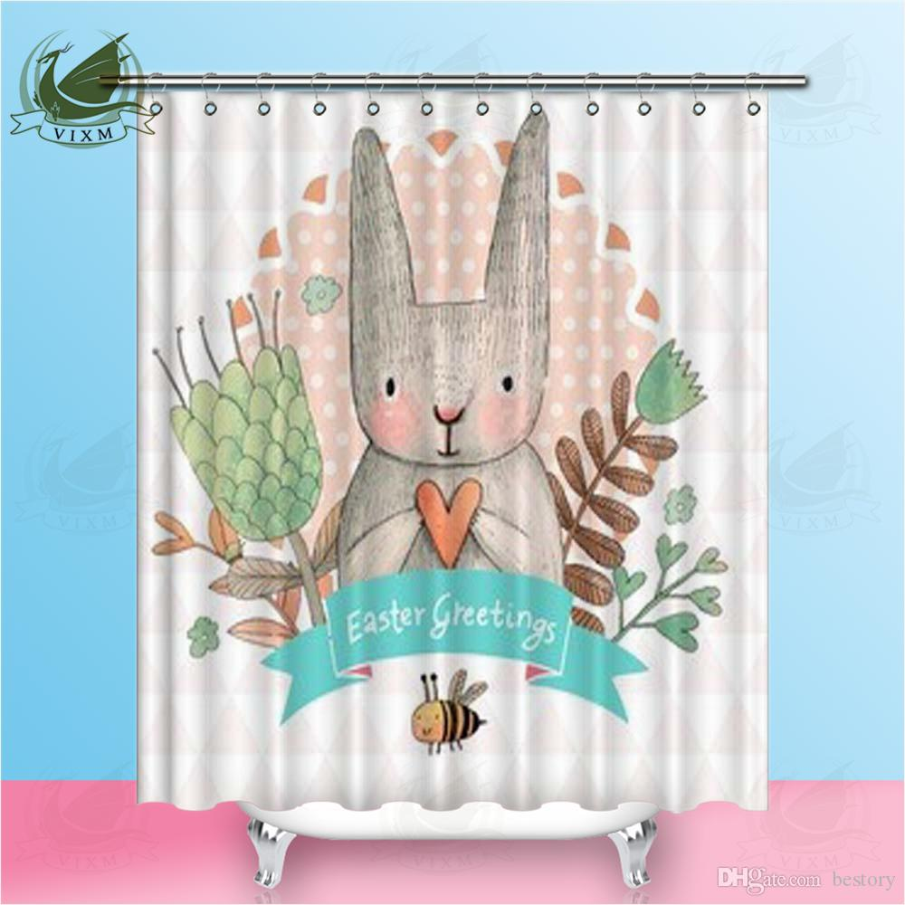 2018 Vixm Home Flower Rabbit Shower Curtain Quality Fabric Waterproof Bathing Shrink Proof For Bathroom With Hooks Ring 72 X From Bestory