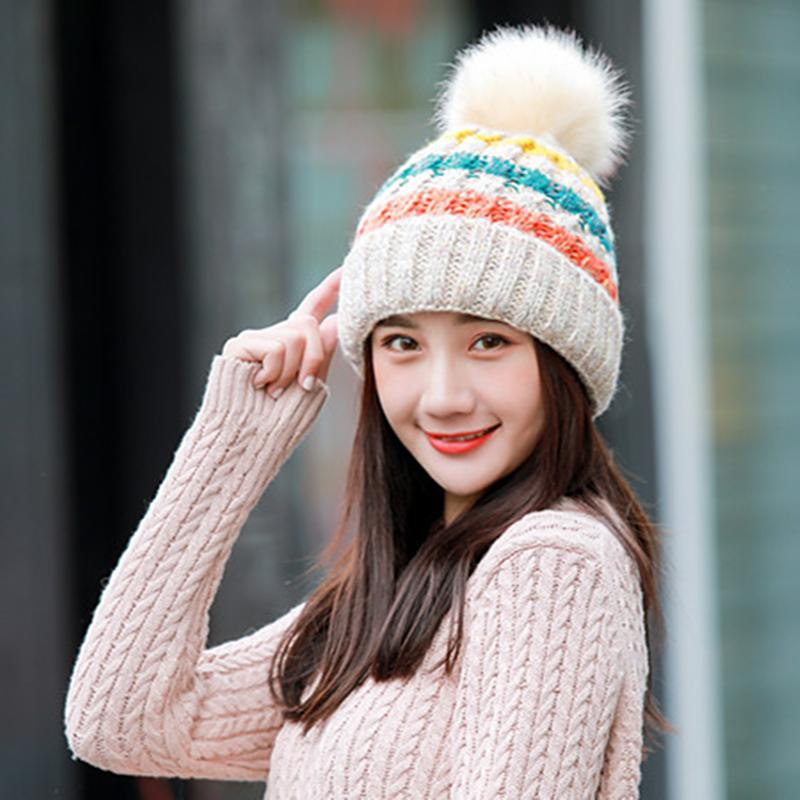 Compre JXQBSYDK Sombreros Para Mujer Gorras De Pelota Grandes Sombreros De Invierno  Para Niña Sombrero De Punto Gorros Gorra De Mujer Gruesa Gorros Mujer ... 7649482c36c6