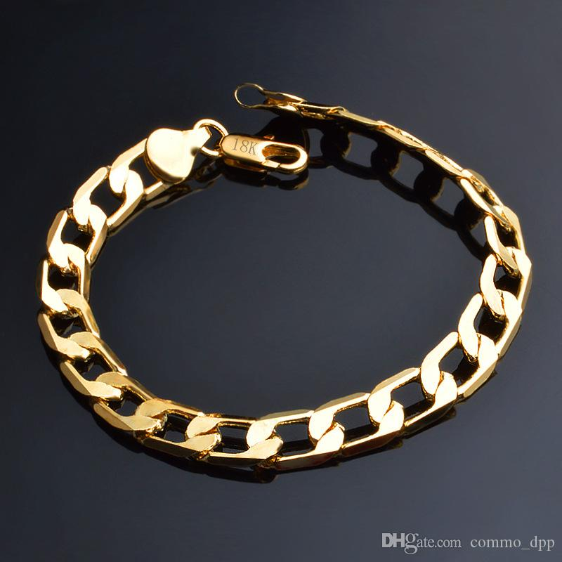 6-12MM 18k gold plated Bangle women 925 Silver plated Link Chain bracelet For Men Fashion Jewelry in Bulk