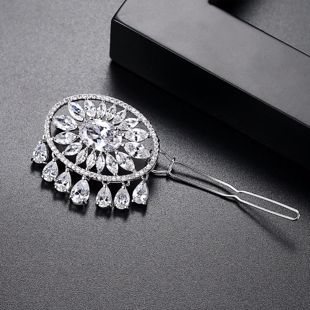 LUOTEEMI New Arrival Modeling Hair Accessory Fashion Clear Cubic Zirconia Drop Hair Clip For Bridal Wedding Jewellery Hair Pins