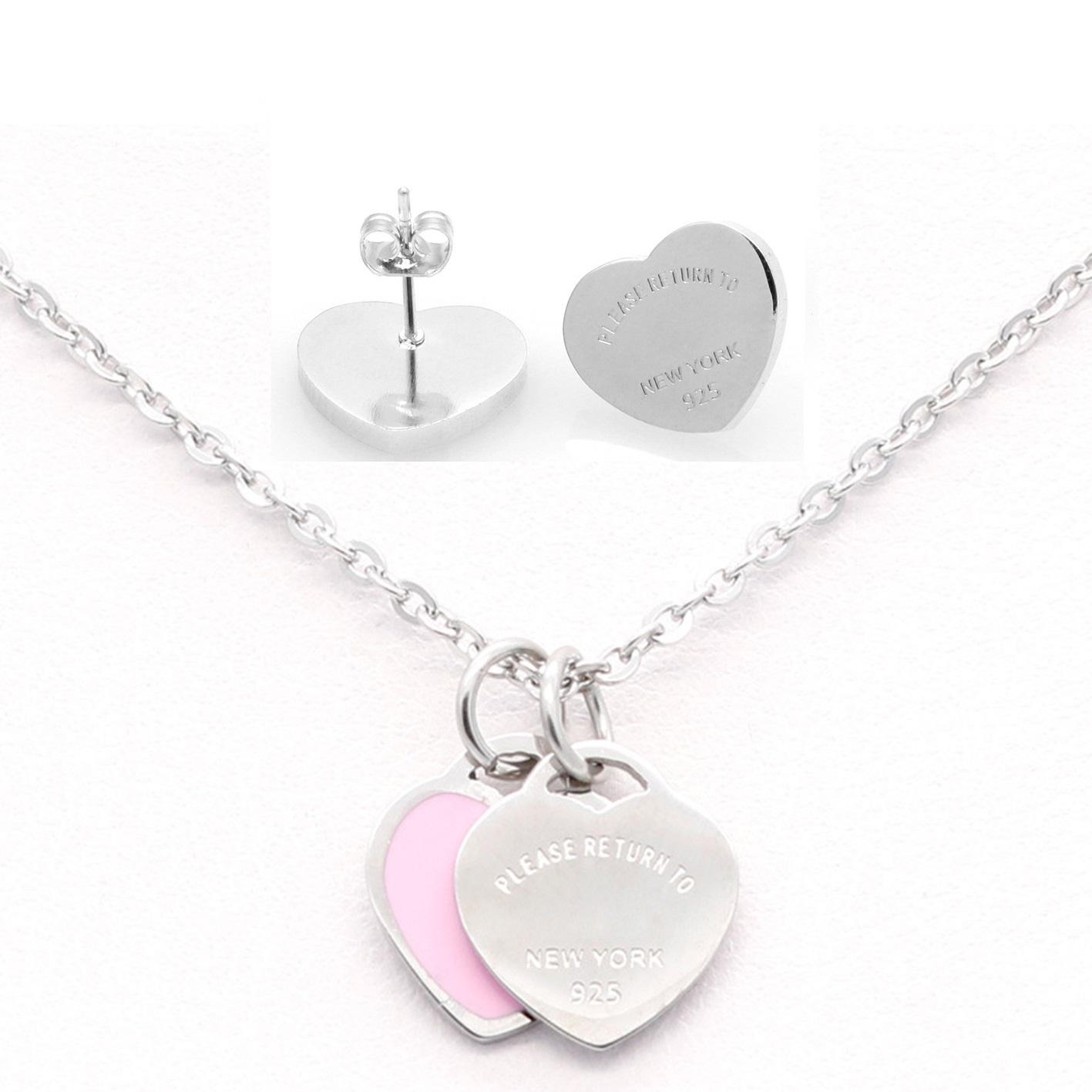 3 stilleri 316L Paslanmaz Çelik Çift Kalp Küpe Kolye Lütfen New York'a dönmek için 925 Harfler Kolye Düğün Takı seti Kadınlar