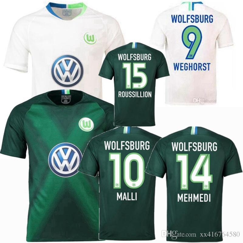 premium selection 9519d 07a78 2018 2019 Wolfsburg Soccer Jersey bundesliga MALLI ROUSSILLION WEGHORST 18  19 football shirt