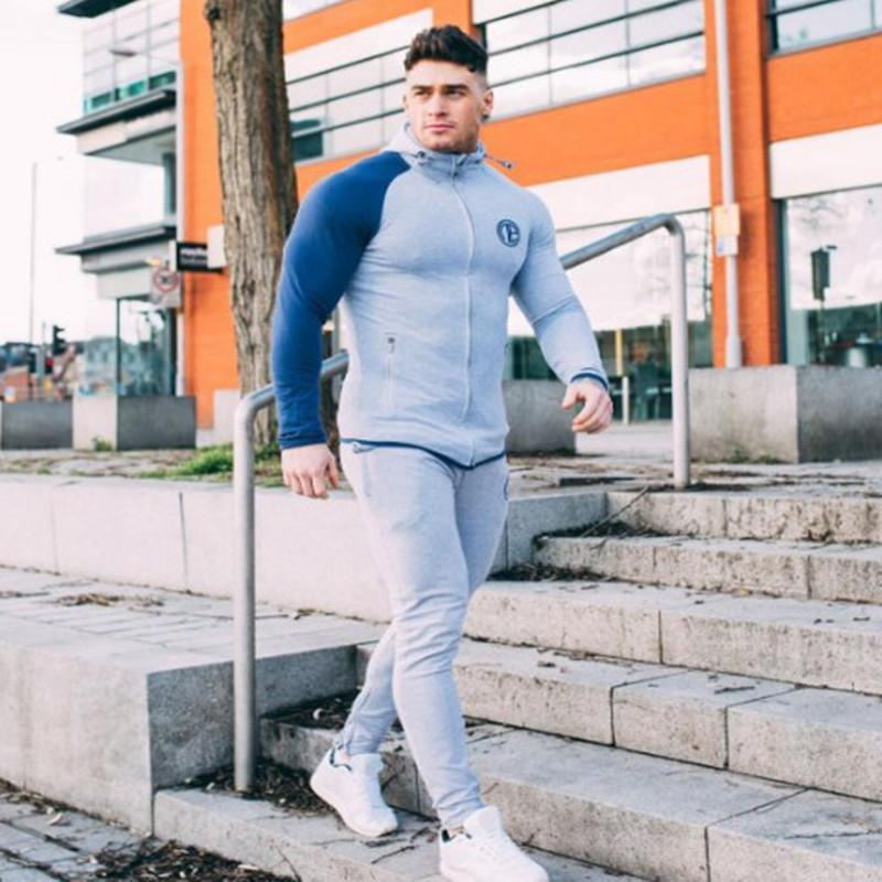 Men's wear 2018 muscle type brothers sports suit fitness suit men's long sleeved running trainer tight wear