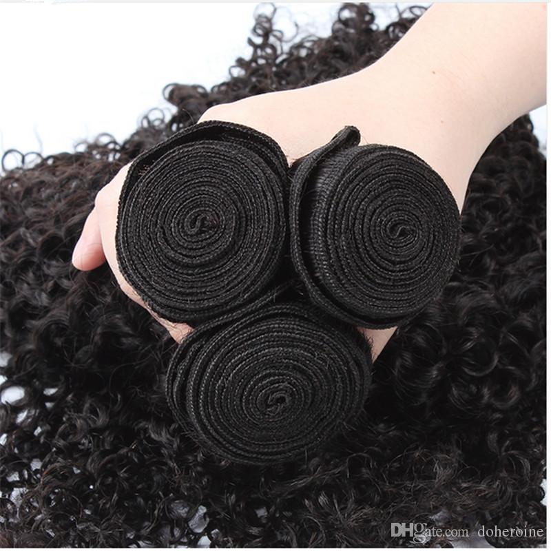 Mongolian Kinky Curly Hair Extension 100% Remy Human Hair Weaving Bundles Machine Double Weft Nature Color