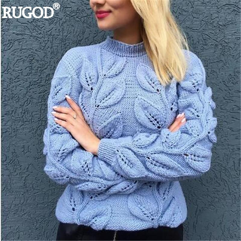 fb0850582d 2019 RUGOD Pure Handmade Leaves Pattern Crochet Sweater Women Autumn Winter Warm  Knitted Pullover Female Sweaters Befree Sueter Mujer S18100903 From ...