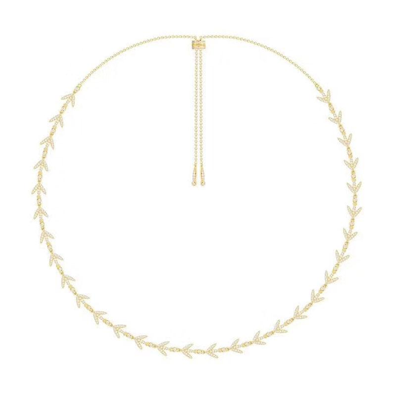 0e6f75d9437e9 wholesale Women Luxury Brand 925 Sterling Silver Yellow Gold Color Laurel  Leaves Choker Necklace Micro Pave Cubic Zirconia Stones
