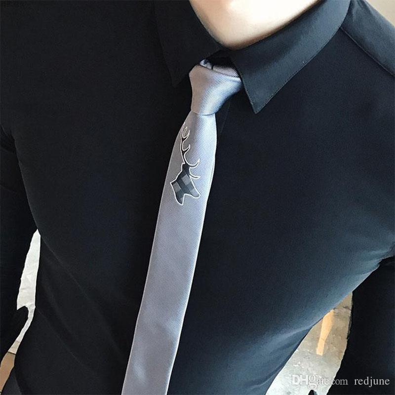 Fashion Mens Boys Casual Cartoon Embroidery Little monster Deer bee skinny Polyester neck ties