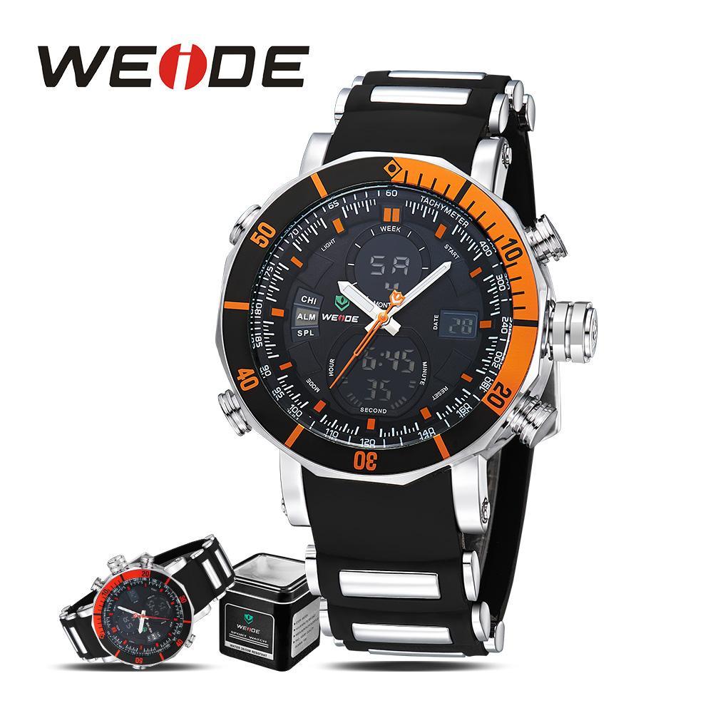 743d0a2439f Compre WEIDE Esporte Digital Relógio De Quartzo Automático Silicone Homens  Relógios 2017 Marca De Luxo Relógio De Campismo Despertador Com Caixa De  Presente ...