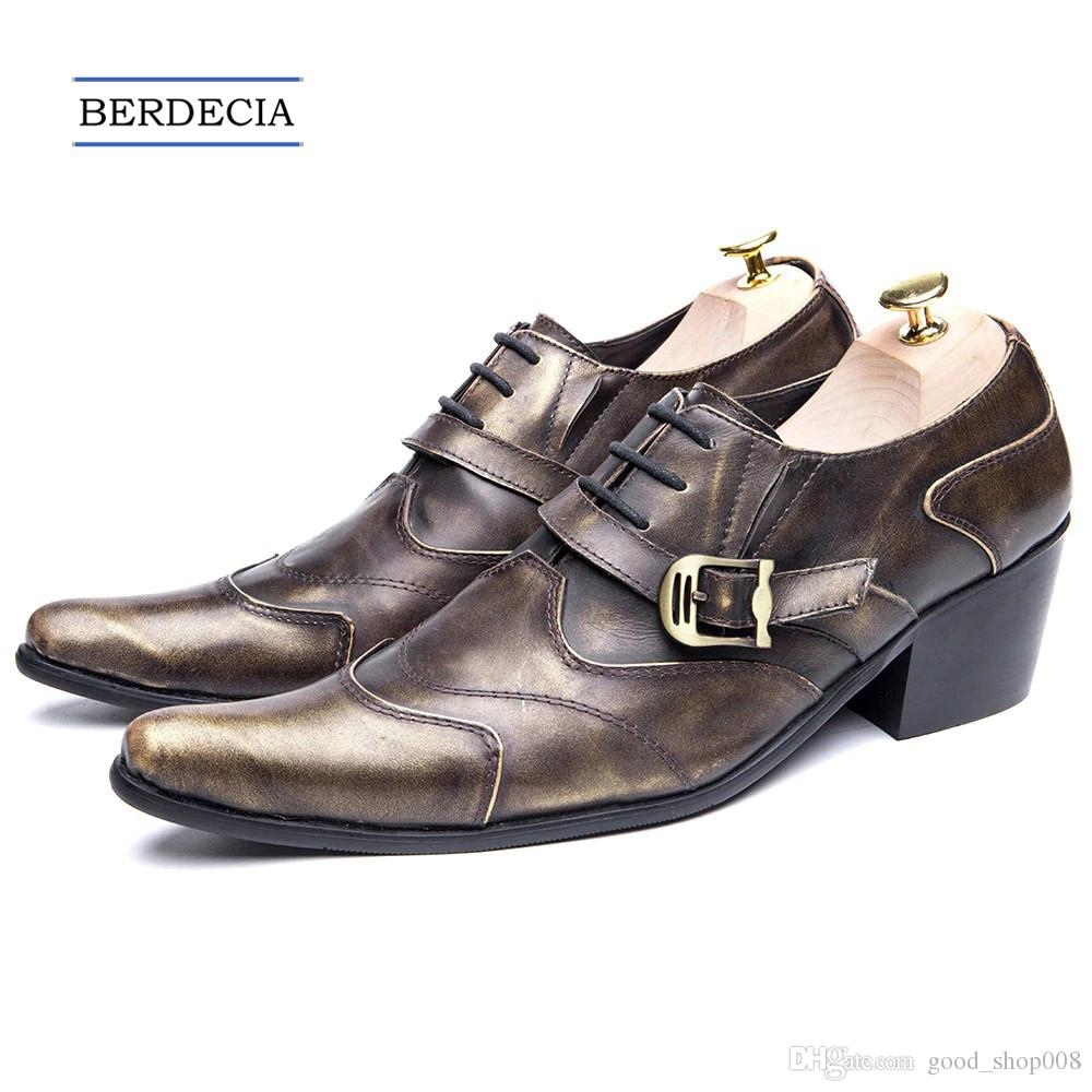Shoes Cheap Sale Mens Genuine Leather Pointed Toe Buckle Leather Shoes Crocodile Print Oxfords Business Man Wedding Shoes Formal Dress Shoes