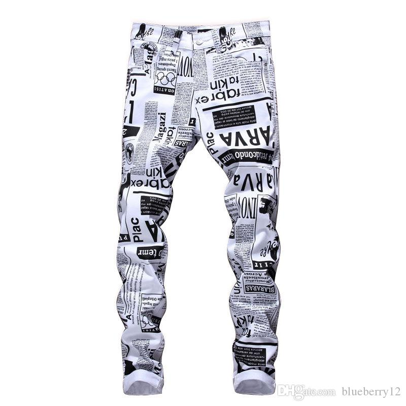 Mens Designer Pencil Jeans Letter Printed White Denim Pants Fashion Club Clothing for Male Free Shipping Hip Hop Skinny Jeans