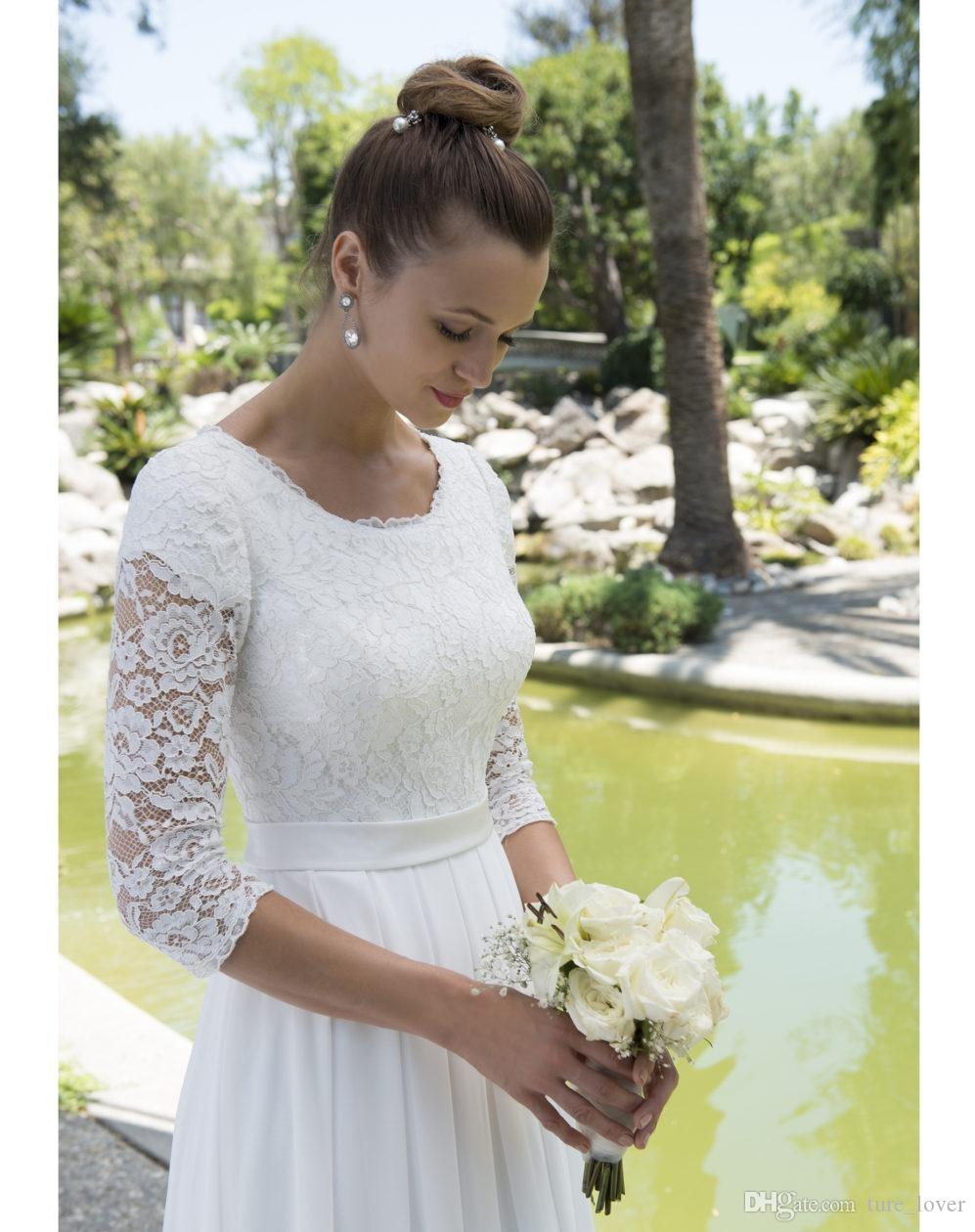 Informal Lace Chiffon Modest Beachboho wedding dresses With 3/4 Sleeves Scoop Neck Reception Bridal Gowns Mature Bride Elegant New