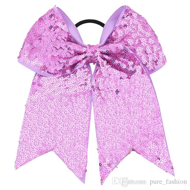 7 Inch High Quality Girls Sequins Ribbon Cheer Bows Children Sweet Elastic Hair Bands DIY Large Hair Accessories