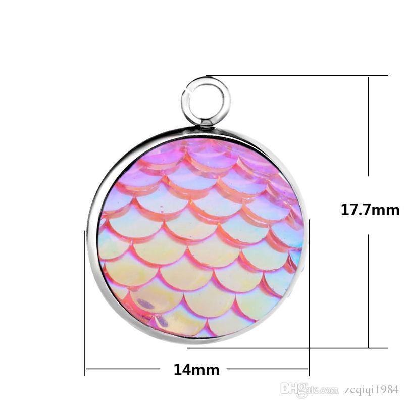 Acero inoxidable escala de pescados sirena Escala pendiente del encanto cupo la pulsera Pendiente redondo Suspensiones de joyería accesorios de bricolaje
