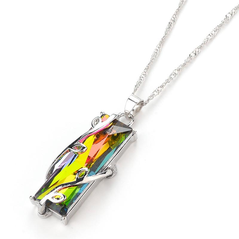 Fashion Natural Fire Rainbow Mystic Necklace Charm Solid CZ Vintage Necklace Women Jewelry
