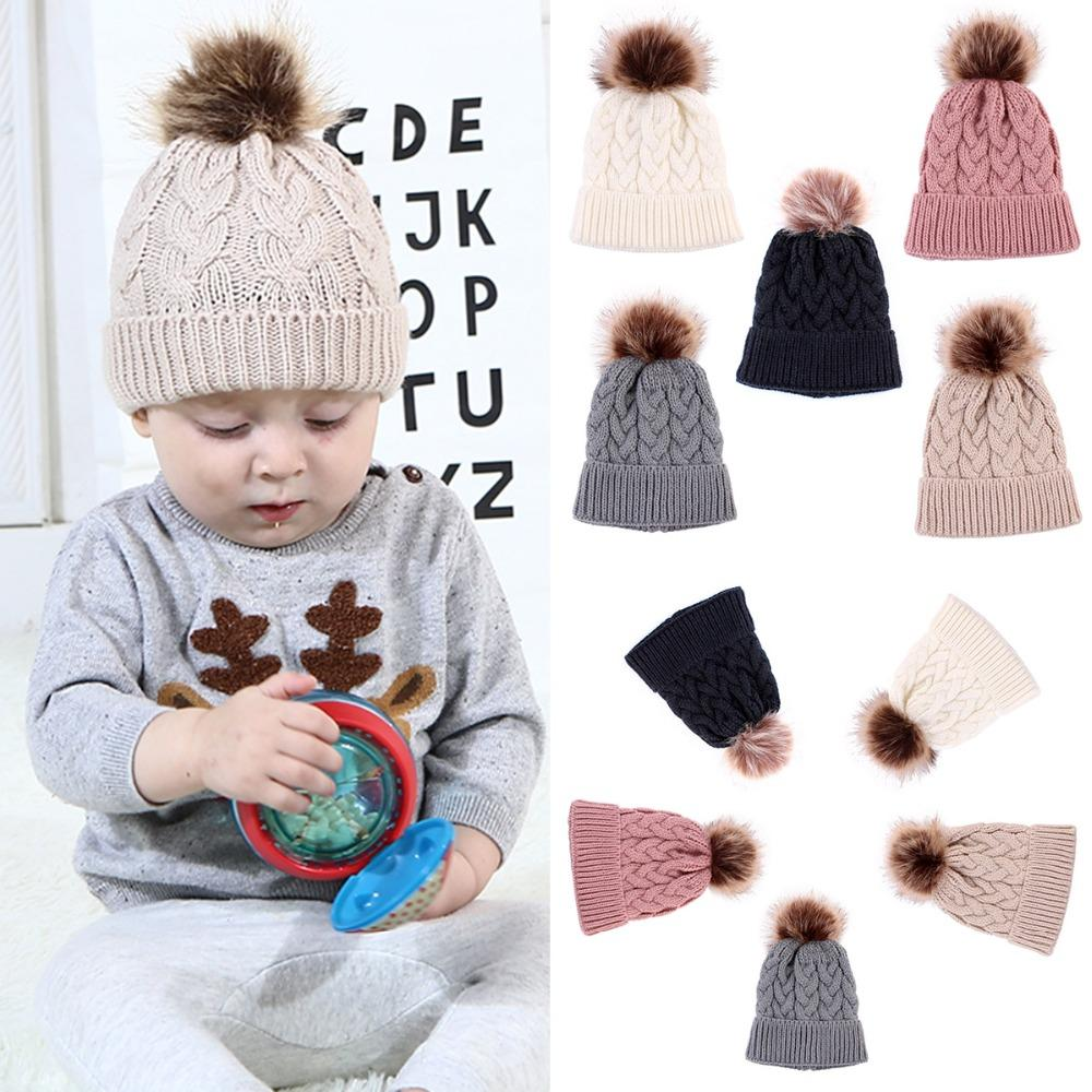 0aec37628ce 2019 Puseky Toddler Kids Winter Warm Hats Fur Ball Pompom Cap Knitted Wool Crochet  Beanie Cap For Girls Boys Muts Caps Hemming Hat From Cover3085