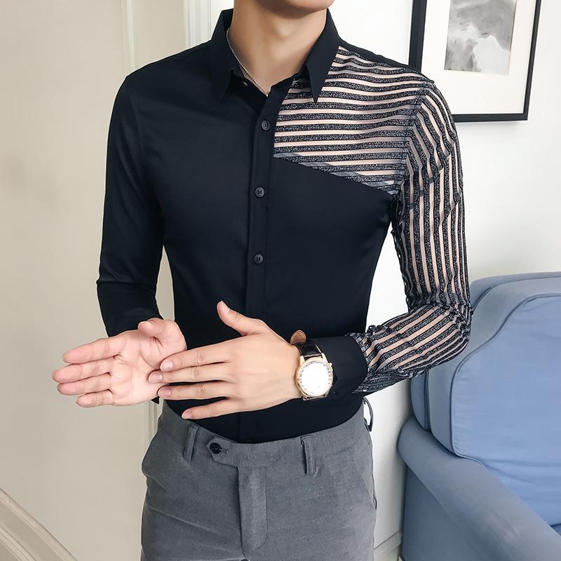 edddfeaff3a0 Großhandel Top Qualität Shirt Männer Marke Designer Slim Fit Mens Dress  Shirts Hohle Spitze Patchwork Gestreiften Langarm Tuxedo Gentlemen Shirt  Von ...