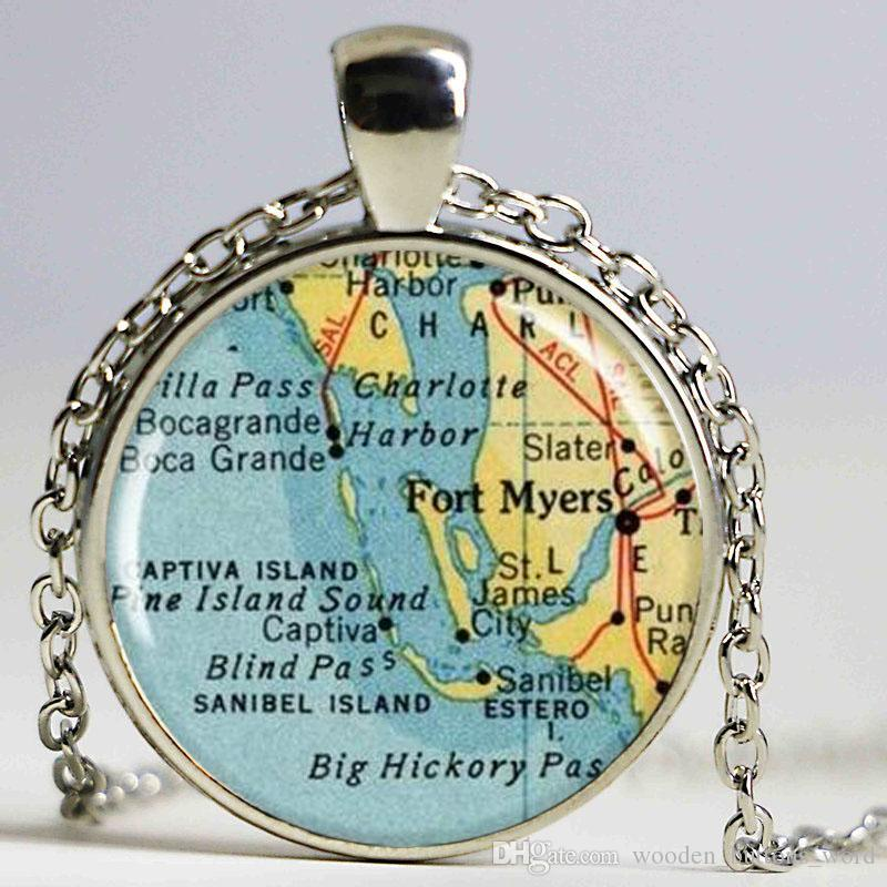 Ft Myers Florida Map.Wholesale Fort Myers Map Pendant Resin Pendant Fort Myers Florida