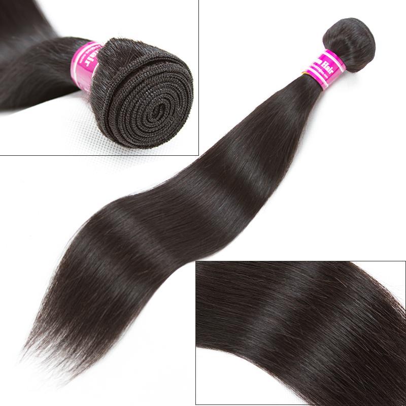 Großhandel Hot brasilianisch Jungfrau-Menschen Mink Glattes Haar 3 Bundles mit Closure 4x4 Gratis und Mittlerer Teil Haar-Einschlagfaden Schwarz-Fabrik-preiswerten Preis