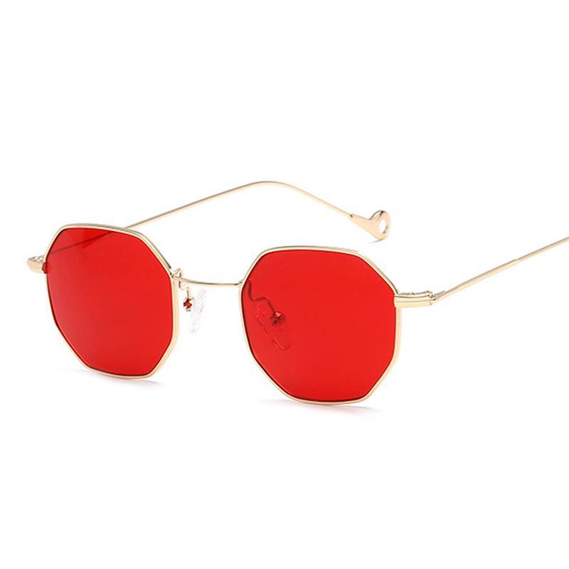 3897994543601 Compre Marca Designer Octagon Óculos De Sol Das Mulheres Dos Homens De Moda  Armação De Metal Pequenos Óculos De Sol Lente Amarela Vermelha Polígono  Óculos ...