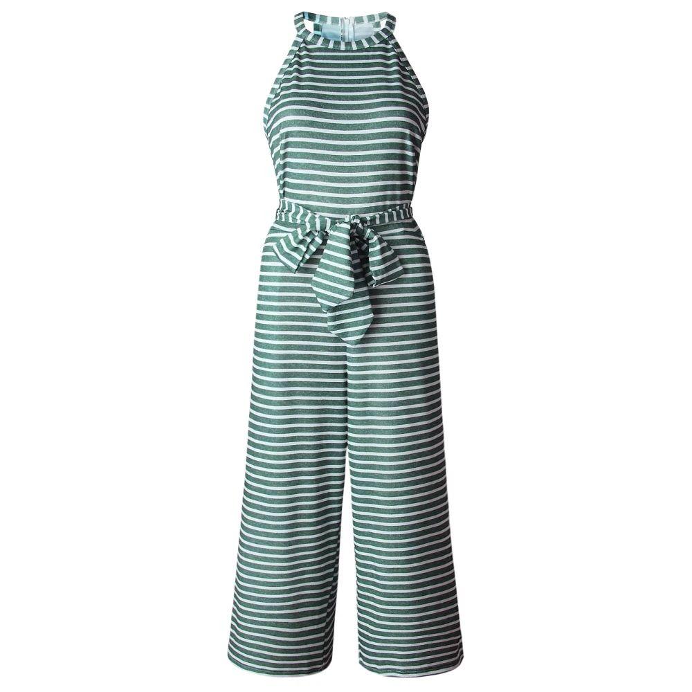 c75dc83b837 Women Summer O -Neck Bowknot Pants Playsuit Sashes Pockets ...