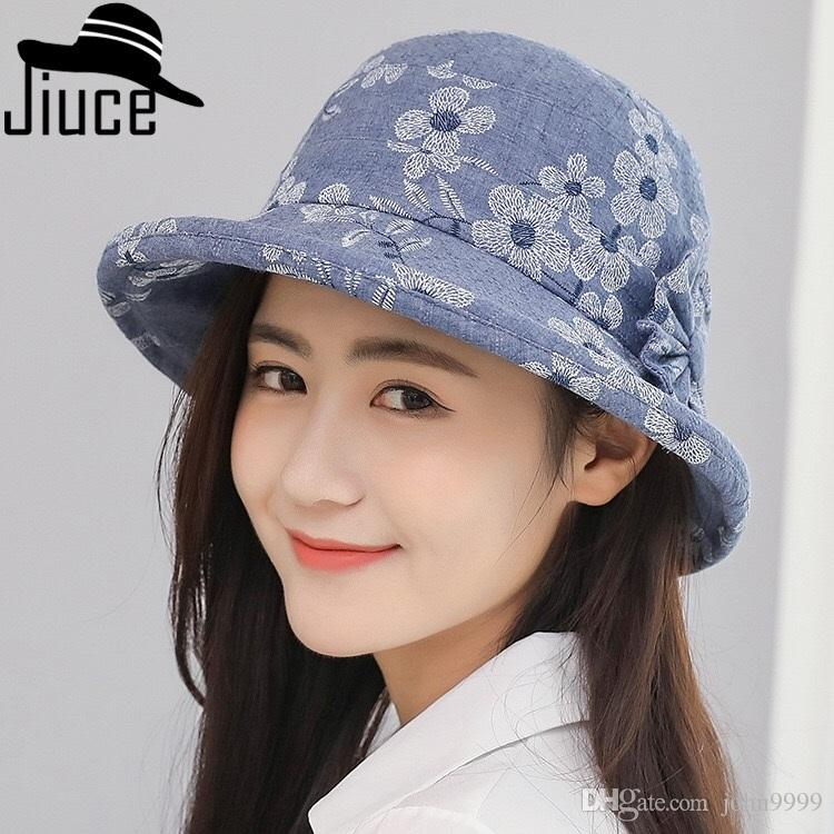30ccfb14 New Ladies Printed Cloth Hat Spring And Summer Outdoor Sunscreen ...