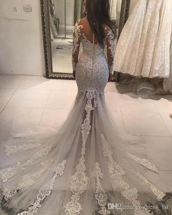 Hermosa 2018 Sheer cuello de manga larga Ilusión Volver sirena vestidos de novia con encaje apliques Granos vestidos de novia sexy por encargo EN2235